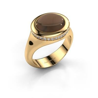 Foto van Ring Lesli ovl 375 goud rookkwarts 12x10 mm