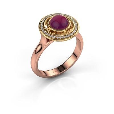 Foto van Ring Salima 585 rosé goud rhodoliet 6 mm