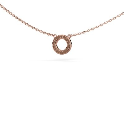 Picture of Pendant Round 2 375 rose gold brown diamond 0.05 crt