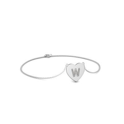 Foto van Armband Initial Heart 750 witgoud zirkonia 1 mm