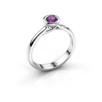 Foto van Verlovings ring Kaylee 585 witgoud amethist 4 mm