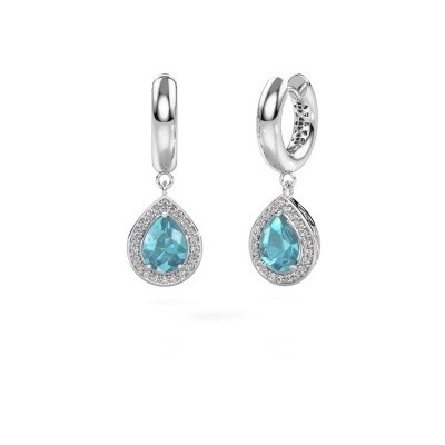Picture of Drop earrings Barbar 1 950 platinum blue topaz 8x6 mm