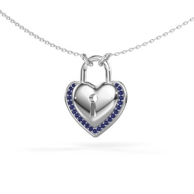 Foto van Halsketting Heartlock 925 zilver saffier 1 mm