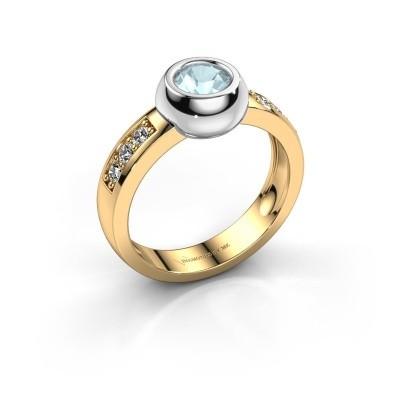 Ring Charlotte Round 585 goud aquamarijn 4.7 mm