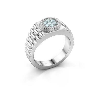 Foto van Rolex stijl ring Nout 925 zilver aquamarijn 2 mm