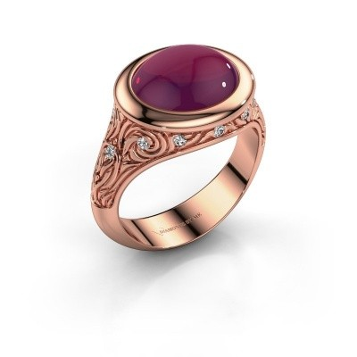 Foto van Ring Natacha 375 rosé goud rhodoliet 12x10 mm