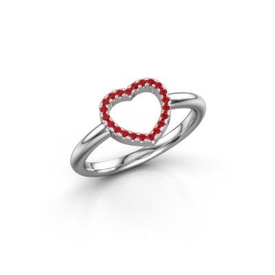Foto van Ring Heart 7 925 zilver robijn 1 mm