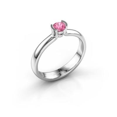 Foto van Verlovingsring Ophelia 950 platina roze saffier 4 mm