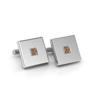 Foto van Manchetknopen Givanti 950 platina bruine diamant 0.80 crt