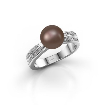Foto van Ring Jolies 585 witgoud bruine parel 8 mm