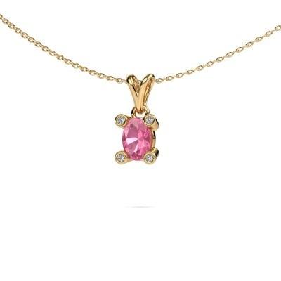 Bild von Kette Cornelia Oval 585 Gold Pink Saphir 7x5 mm