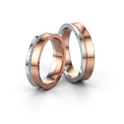 Foto van Trouwringen set WH6090LM55A ±5x1.7 mm 14 karaat rosé goud diamant 0.005 crt