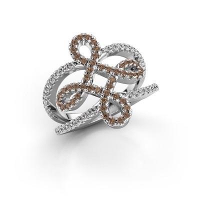 Foto van Ring Chantay 950 platina bruine diamant 0.72 crt