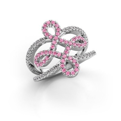 Foto van Ring Chantay 950 platina roze saffier 1.2 mm