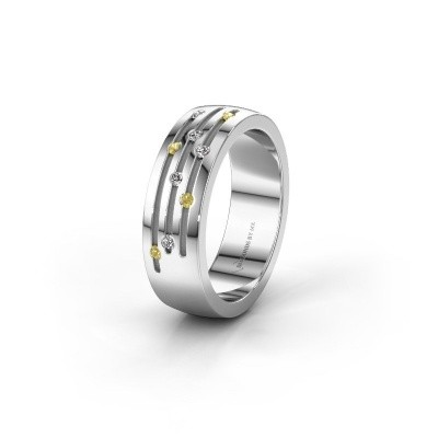 Trouwring WH0134L26B 925 zilver gele saffier ±6x2 mm