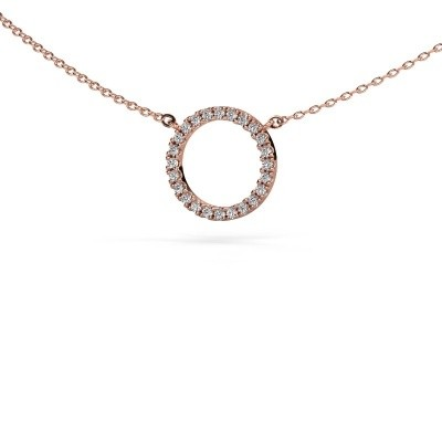 Picture of Pendant Circle 375 rose gold zirconia 1.2 mm