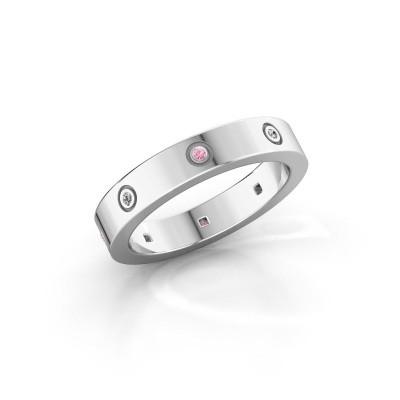 Foto van Ring Carrie 4 925 zilver roze saffier 1.1 mm
