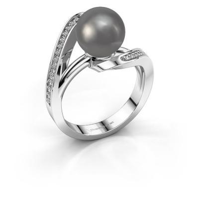 Foto van Ring Amber 585 witgoud grijze parel 9 mm