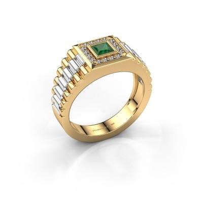 Foto van Rolex stijl ring Zilan 585 goud smaragd 4 mm