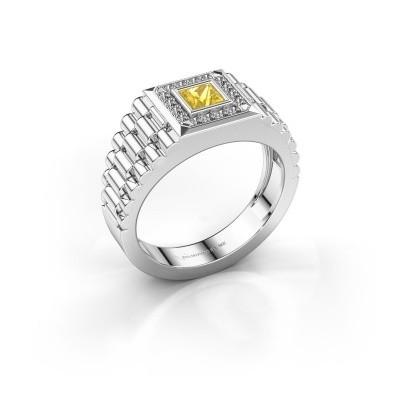 Foto van Rolex stijl ring Zilan 585 witgoud gele saffier 4 mm