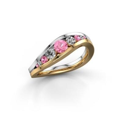 Foto van Ring Sigrid 2 585 goud roze saffier 4 mm