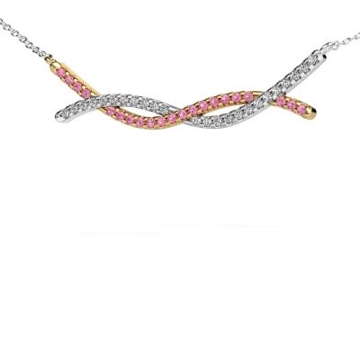 Picture of Bar necklace Breanne 585 gold pink sapphire 1.2 mm