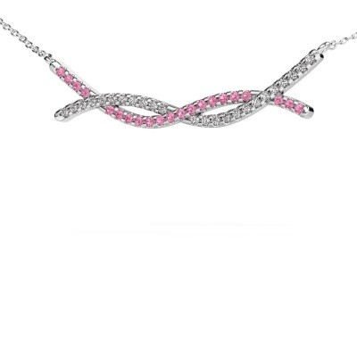 Picture of Bar necklace Breanne 585 white gold pink sapphire 1.2 mm