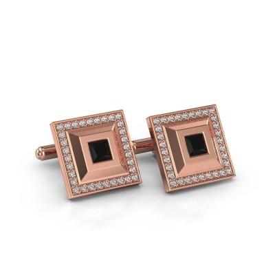Foto van Manchetknopen Joris 750 rosé goud zwarte diamant 1.14 crt