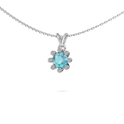 Picture of Pendant Carola 3 375 white gold blue topaz 6 mm