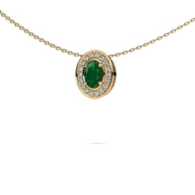 Picture of Necklace Madelon 585 gold emerald 6x4 mm