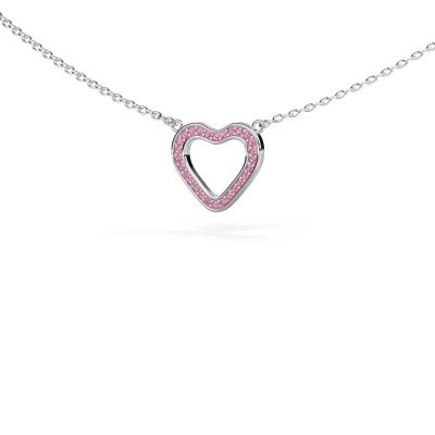 Picture of Pendant Heart 3 585 white gold pink sapphire 0.8 mm
