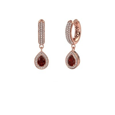 Picture of Drop earrings Barbar 2 375 rose gold garnet 6x4 mm