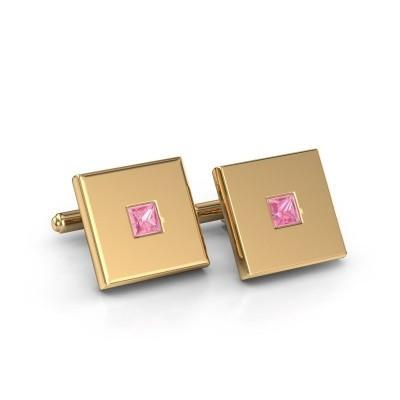 Foto van Manchetknopen Givanti 585 goud roze saffier 4 mm