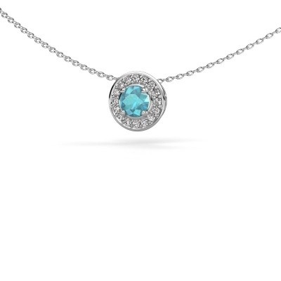 Picture of Pendant Agaat 925 silver blue topaz 5 mm