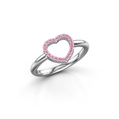 Foto van Ring Heart 7 585 witgoud roze saffier 1 mm