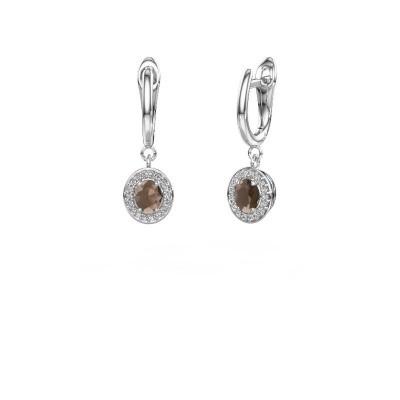 Picture of Drop earrings Nakita 585 white gold smokey quartz 5x4 mm