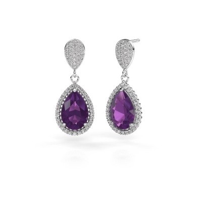 Picture of Drop earrings Cheree 2 585 white gold amethyst 12x8 mm