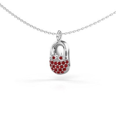 Picture of Pendant Babyshoe 925 silver ruby 1.3 mm