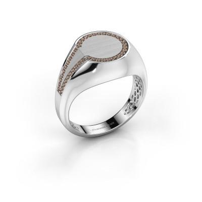 Foto van Heren ring Gijs 950 platina bruine diamant 0.22 crt