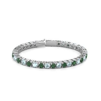 Foto van Tennisarmband Ming 750 witgoud smaragd 5 mm