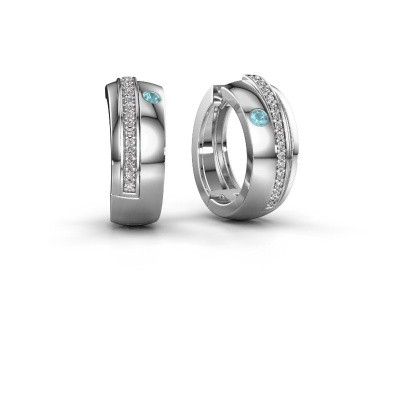Picture of Hoop earrings Shakita 925 silver blue topaz 2 mm