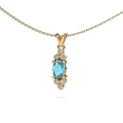 Picture of Pendant Lucy 2 375 gold blue topaz 7x5 mm