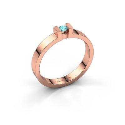 Foto van Verlovingsring Lieve 1 375 rosé goud blauw topaas 3 mm