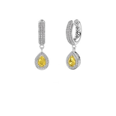 Picture of Drop earrings Barbar 2 375 white gold yellow sapphire 6x4 mm
