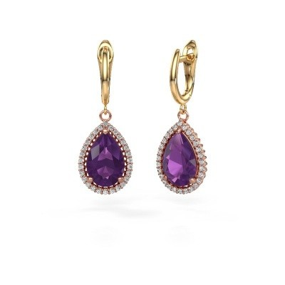 Picture of Drop earrings Hana 1 585 rose gold amethyst 12x8 mm