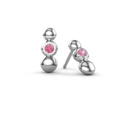 Picture of Earrings Lily 925 silver pink sapphire 2.5 mm