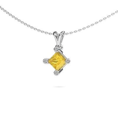 Picture of Pendant Cornelia Square 950 platinum yellow sapphire 6 mm