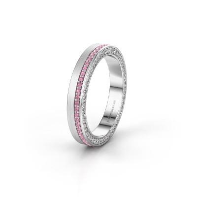 Trouwring WH2214L15BM 585 witgoud roze saffier 1 mm ±5x2 mm