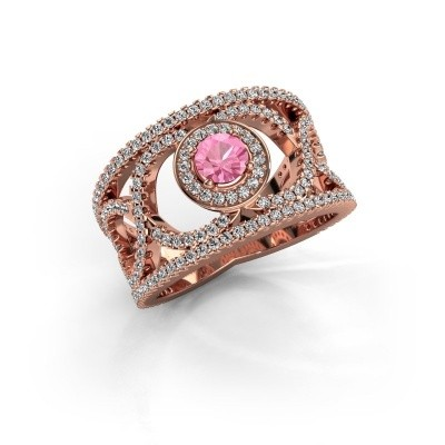 Foto van Ring Regina 375 rosé goud roze saffier 4.2 mm