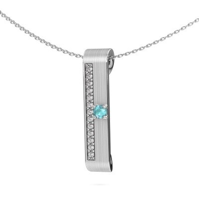 Picture of Necklace Vicki 950 platinum blue topaz 3 mm